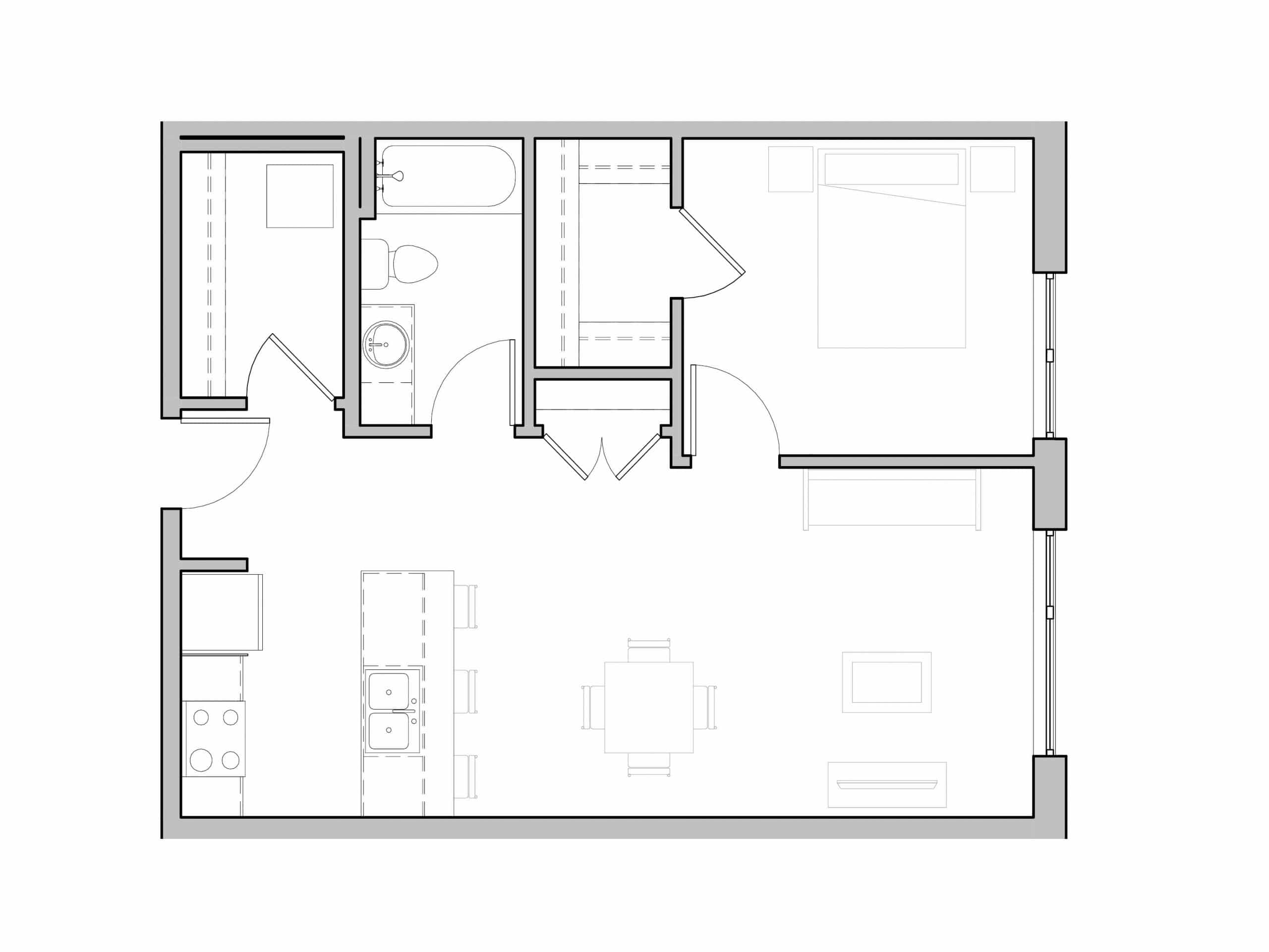 One Bath and One Bedroom open floorplan at Seattle's Ivy at Interbay.