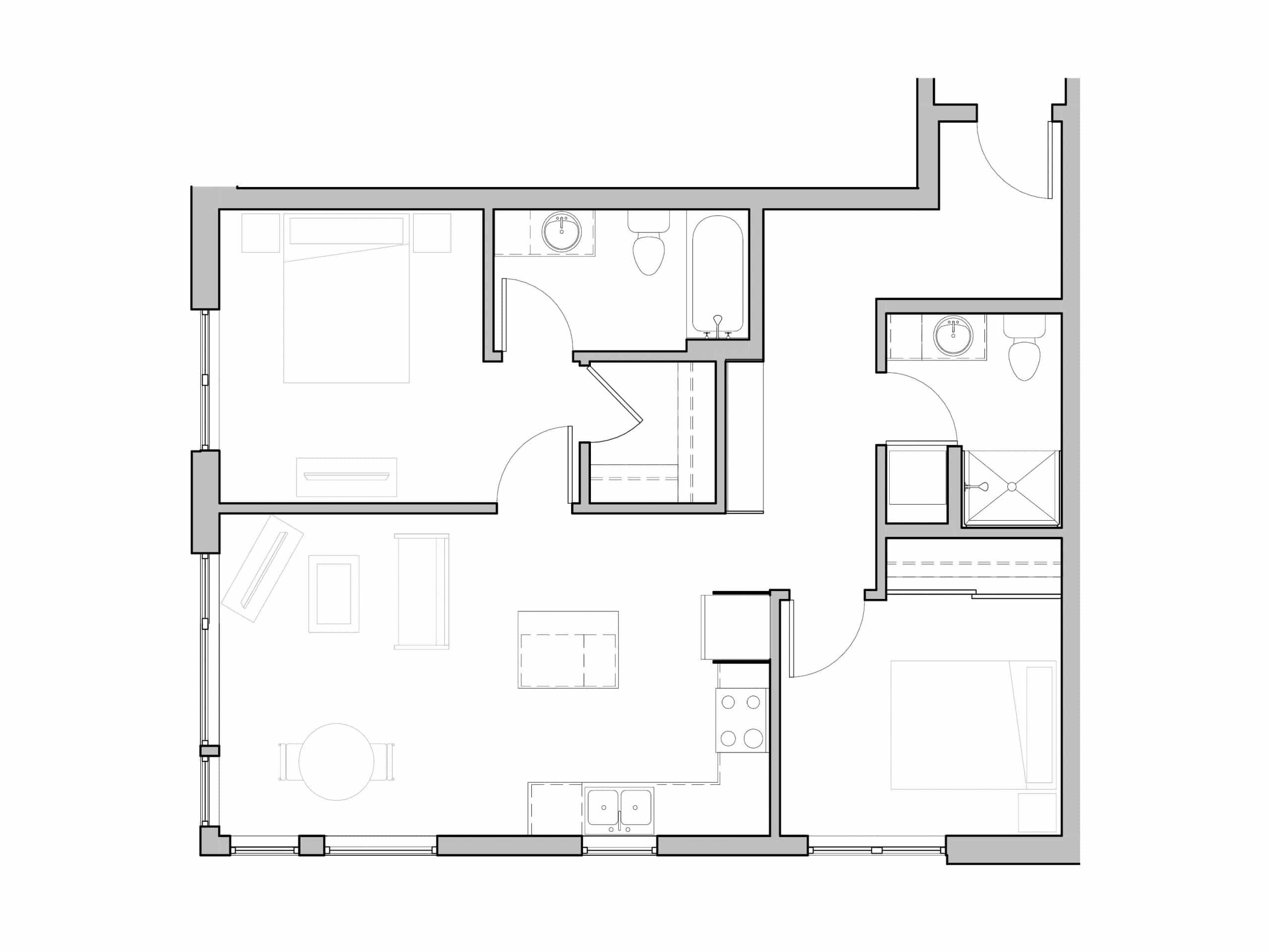 Two Bathroom and Two bedroom modern floorplan at Seattle's Ivy at Interbay.