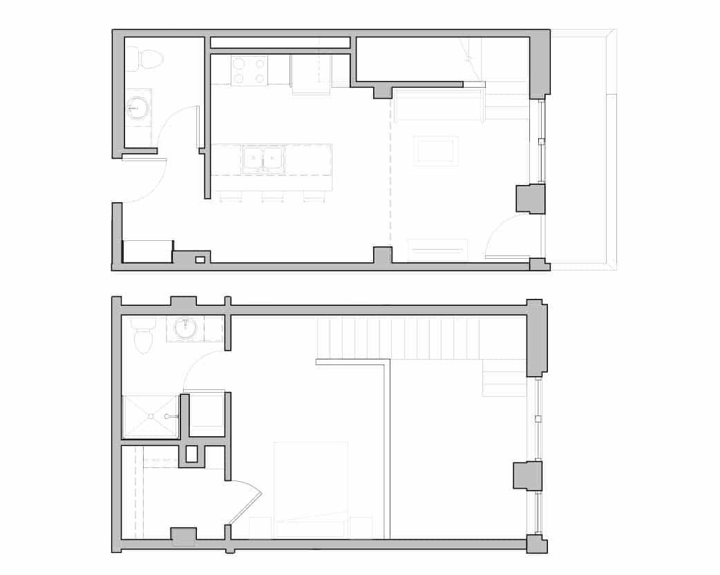 Two Bath and bedroom open floorplan at Seattle's Ivy at Interbay.