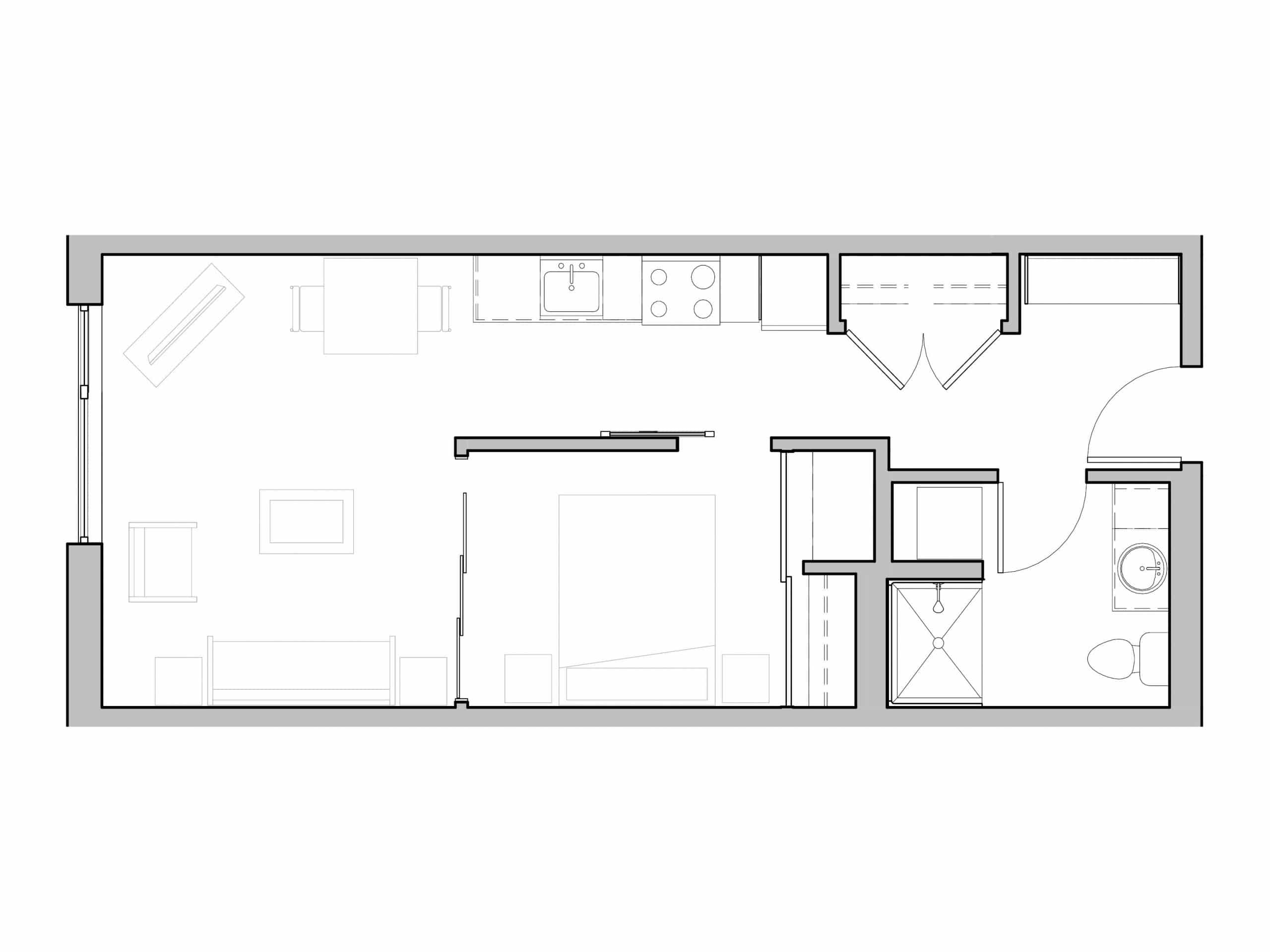One Bath and One Bedroom in-unit washer and dryer open floorplan at Seattle's Ivy at Interbay.