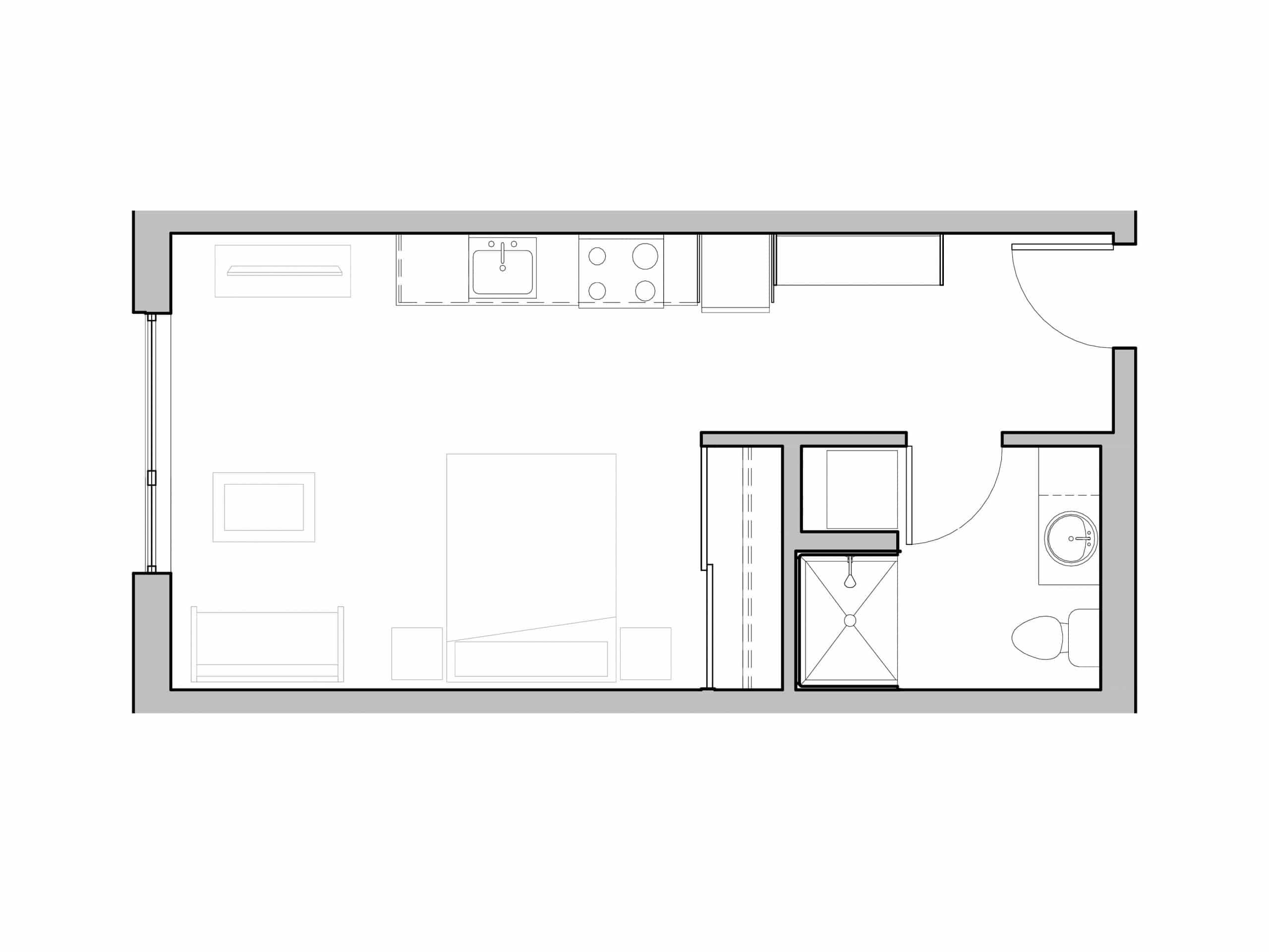 One Bath Studio with in-unit washer and dryer open floorplan at Seattle's Ivy at Interbay.