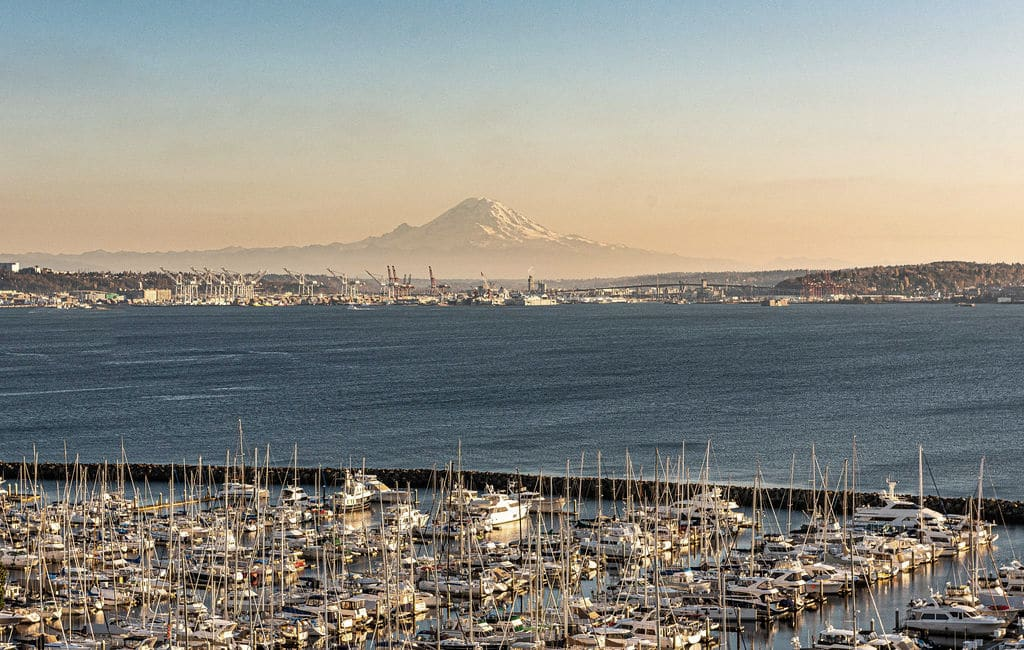 Marina near Ivy Interbay apartments with Mt Rainer in the back.
