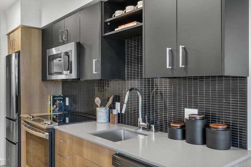 Kitchen and countertop at an apartment at Ivy Interbay