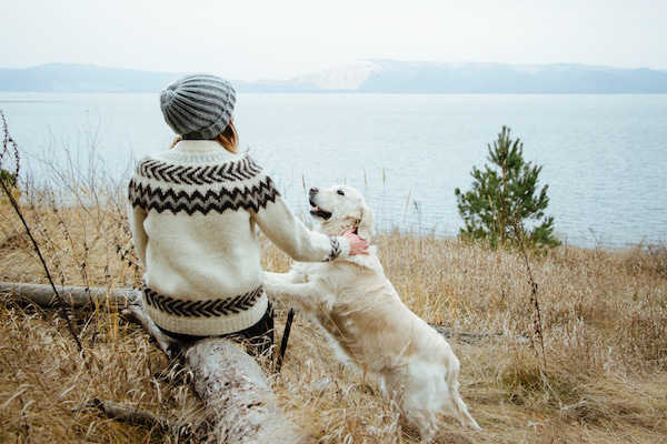 A person wearing a sweater and a hat petting a dog