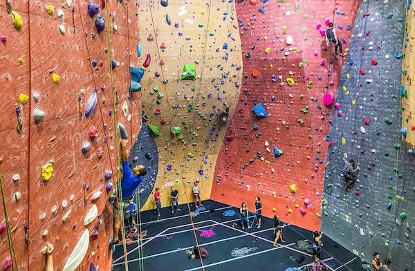 Indoor rock wall being climbing walls at Vertical Wall in Seattle