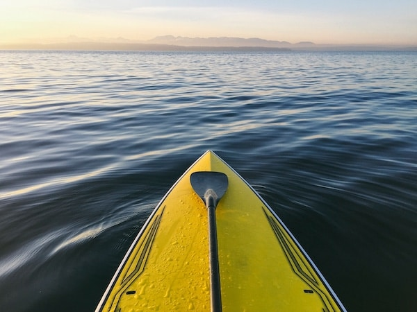 Stand Up Paddle Board On Calm Waters At Dusk, Puget Sound, Washington